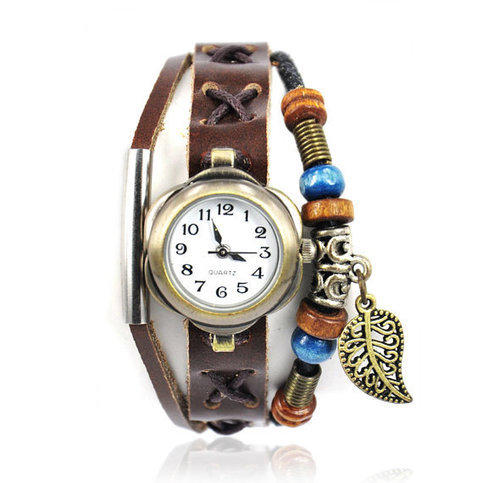 Handmade Leather Watch with Leaf Pendant from unusual