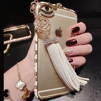 Alloy Crystal Tassels Mobile Phone Case for iphone 6 6s for iphone 6s plus