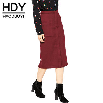 HDY Haoduoyi 2016 Autumn Women Fashion Solid Wine Red High Waist Slim Midi Skirt Commuting Double Pockets Casual Skirt