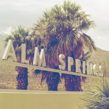 Palm Springs Sign California Palm Trees City Downtown Summer Mountains travel Photography Fine Art Print
