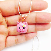 Pig Clay Necklace, kawaii polymer clay necklace, cute necklace girls, pig necklace, cute animal jewelry, polymer clay animal, cute pendant