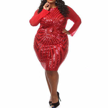 Red Sequined Sheer Sleeve Plus Size Party Dress