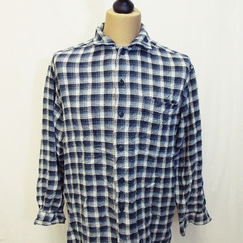 Vintage 1990s Clothing : Levis Blue Checked Flannel Lumberjack Plaid Shirt XL