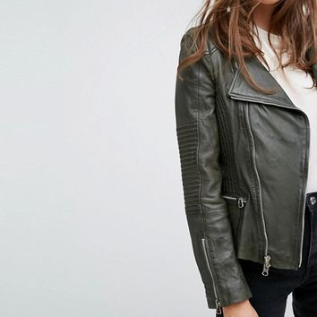 Goosecraft Drape Collar Zip Detail Leather Jacket at asos.com