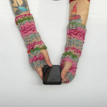 Crochet Texting Gloves in Pink Medley vegan friendly, ready to ship.