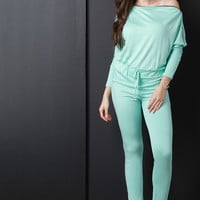 Zip Accent Long Sleeve Knit Jumpsuit