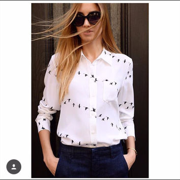 Newest EQ 100% silk wild goose print ladies long sleeve blouses Equipment women shirt sprint autumn