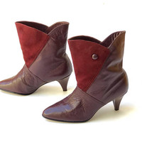 Vintage 1980s panelled, burgundy leather and suede ankle boots with shaped top