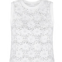 Casual White Floral Lace Embroidered Sleeveless Blouse