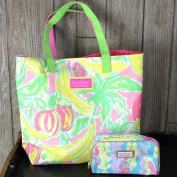 Lilly Pulitzer for Estee Lauder Tote Bag And Make Up Bag Multi Color Floral Canvas