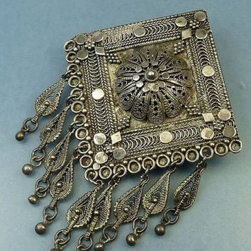 Vintage Israel 925 Brooch Pendant Sterling Silver Filigree Triangle Dangles