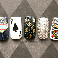 Fake Nails- Viva Las Vegas Handpainted Nail Art