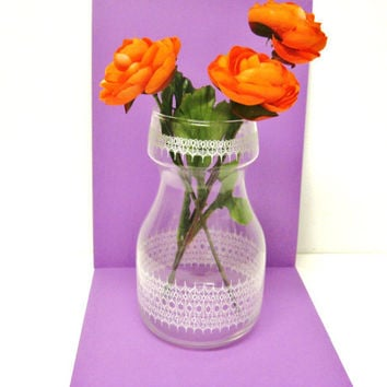 Glass Vase / Water  Carafe - Lace Pattern