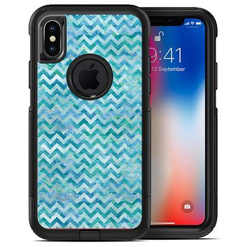 Aqua Basic Watercolor Chevron Pattern - iPhone X OtterBox Case & Skin Kits