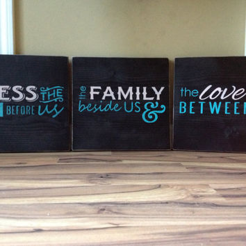 Large Bless the food before us the family beside us and the love between us large wood signs hand painted signs black teal pink home 3 part