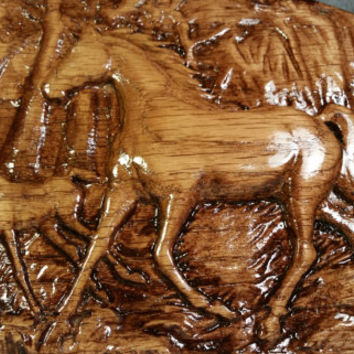 Oval Wood Carved Horse Plaque Wall Hanging Handmade in Texas Wood Carved Wild Horses in Forest Decorative Wood Art Home Office Decor