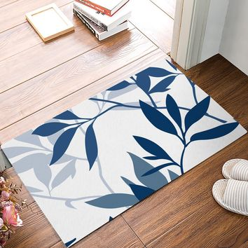 Blue Plant Leaves Door Mats Kitchen Floor Bath Entrance Rug Mat Absorbent Indoor Bathroom Decor Doormats