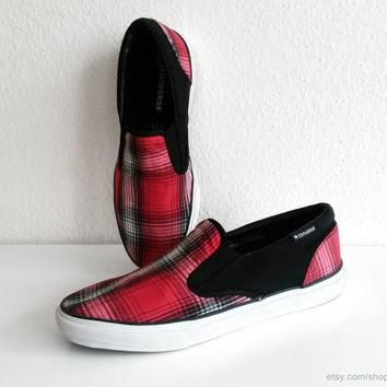Vintage red, white and black plaid Converse slip-on sneakers, bright red tartan slipon