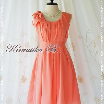 A Party Dress One Shoulder Layered Bow Dress Peach Tangerine Dress Prom Dress Party Bridesmaid Dress Wedding Dress Anniversary Dress