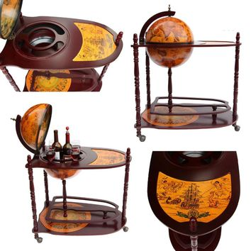 Antique World Globe Bar Stand Liquor Shelf Drink Cup Bottle Trolley + Table For Home Office Bar Accessories