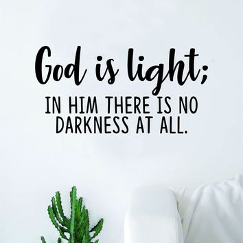 God is Light Quote Wall Decal Sticker Bedroom Home Room Art Vinyl Inspirational Motivational Teen Decor Religious Bible Verse Blessed Spiritual