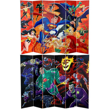 Justice League Heroes Villains 6 Ft Tall Canvas Room Divider