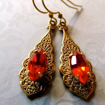 Art Deco Earrings Art Nouveau Earrings Mexican Opal Earrings Red Earrings 1920s Earrings Teardrop Earrings Orange Earrings-Bombay Nights 2