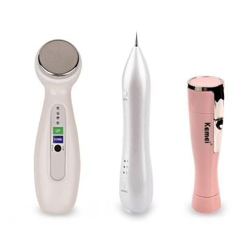 Laser Spot Mole Freckle Removal Machine +Face Lift Skin Tightening Ultrasonic Facial Massager Beauty Instrument +Lady shaver G49