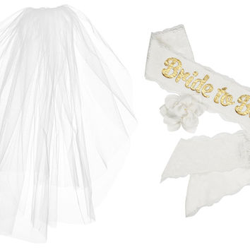 "VEIL AND SASH COMBO PACK: 2 Tier Plain Edge Veil + ""Bride to Be"" White Satin & Lace Sash for Bachelorette, Hen & Bridal Shower Party"
