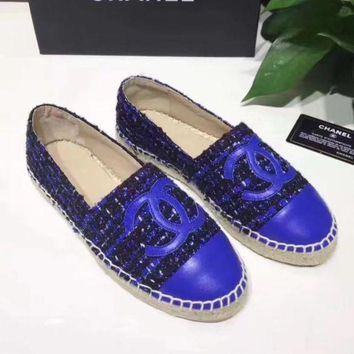 Chanel Fashion Women Comfortable Big Logo Espadrilles Flats Canvas Single Shoes Blue I