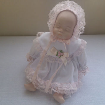 Sleepping Baby Doll Vintage Porcelain Doll Collectible Baby Doll Gift under 30 Doll Lovers
