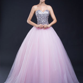 In Stock Cheap Long Ball Gown Tulle Pink Quinceanera Dresses Sequined Party Prom Gown Lace Up Back 30287