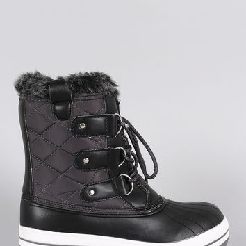 Faux Fur Cuff Lace Up Quilted Nylon Boots