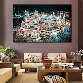 Posters and Prints Wall Art Mecca Islamic The Caaba Landscape Canvas Painting Prints Wall Decoration For Living Room No Frame