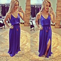 Purple Spaghetti Strap V Neck Maxi Dress with Slit