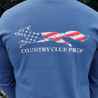Country Club Prep: Faded Flag Longshanks Long Sleeve Tee Shirt in Navy Blue by Country Club Prep-Small
