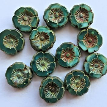 12 Czech glass flower beads, table cut, carved, turquoise green opaque and translucent mix 12mm Hawaiian Hibiscus floral beads C50201
