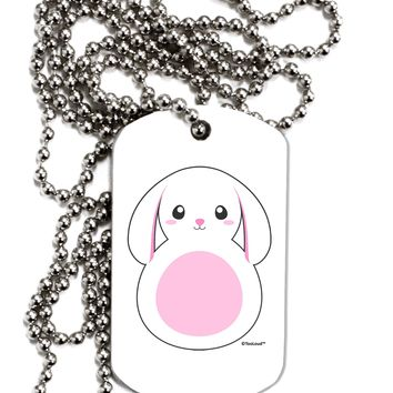 Cute Bunny with Floppy Ears - Pink Adult Dog Tag Chain Necklace by TooLoud