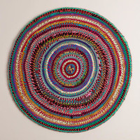 3' Round Striped Chindi Area Rug