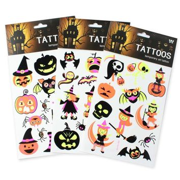 Luminous Temporary Tattoos Stickers Halloween Pumpkin Spider Fluorescent Body Art Sleeve Tattoo Decals Waterproof Party Supplies