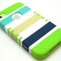 Lime Green Soft Case Ocean Blue Stripes Hybrid Hard Cover iPhone 4 4S Phone R