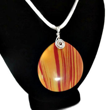 Red and Orange Pendant Necklace, White Satin Cord Necklace, Statement Jewelry