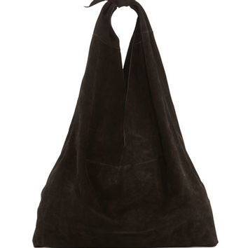 THE ROW Bindle Knot Suede Hobo Bag, Black