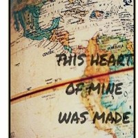 This heart of mine was made to travel this world - Vintage retro world map - Adventurer iPhone 5 5s Black plastic case