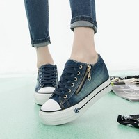 2018 New Height Increased Canvas Shoes Fashion Leisure Women Platform Flat Shoes Female Denim Casual Shoes Jeans Blue Sneakers