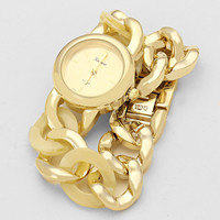 Chain Link Gold Watch