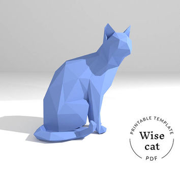 Printable DIY template (PDF).  Wise Cat low poly paper model. 3D paper sculpture. Origami.