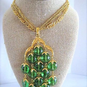 Crown Trifari Waterfall Necklace, Bright Green Lucite, Long Gold Signed Chain, Vintage 70's