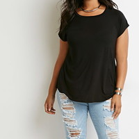 Plus Size Raw-Cut Raglan Tee