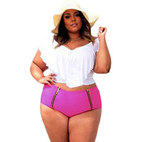 Plus Size White Ruffled Rosy Bottom Tankini LAVELIQ